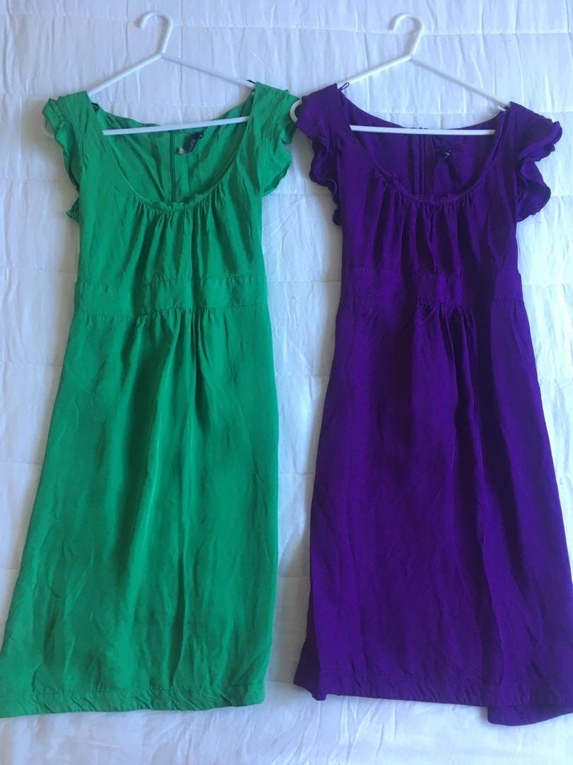 BNWOT Topshop Frill Sleeve Dresses in Green and Purple