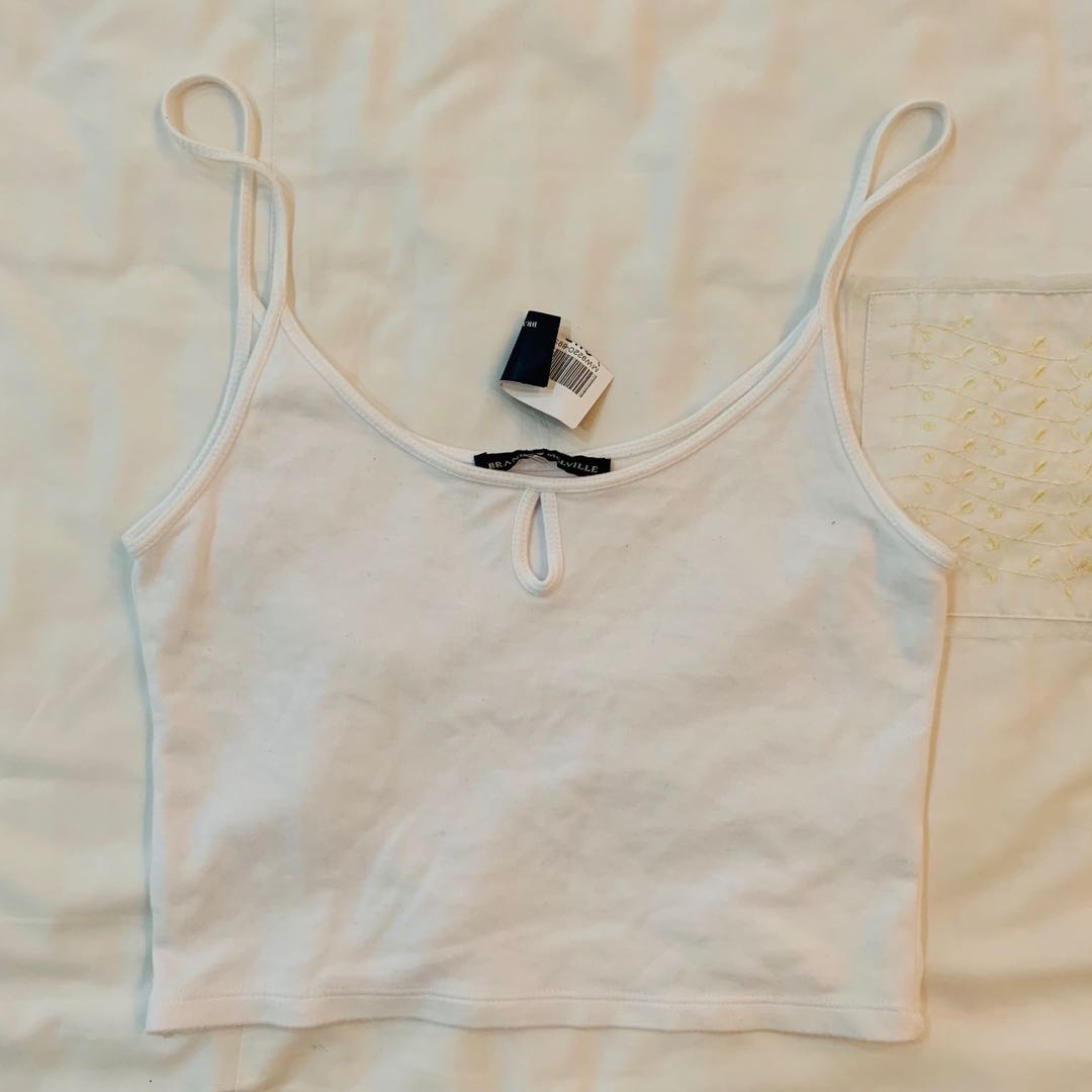 b4c1c248d89 Bnwt brandy Melville White Edith keyhole Crop tank TOP authentic bm ...