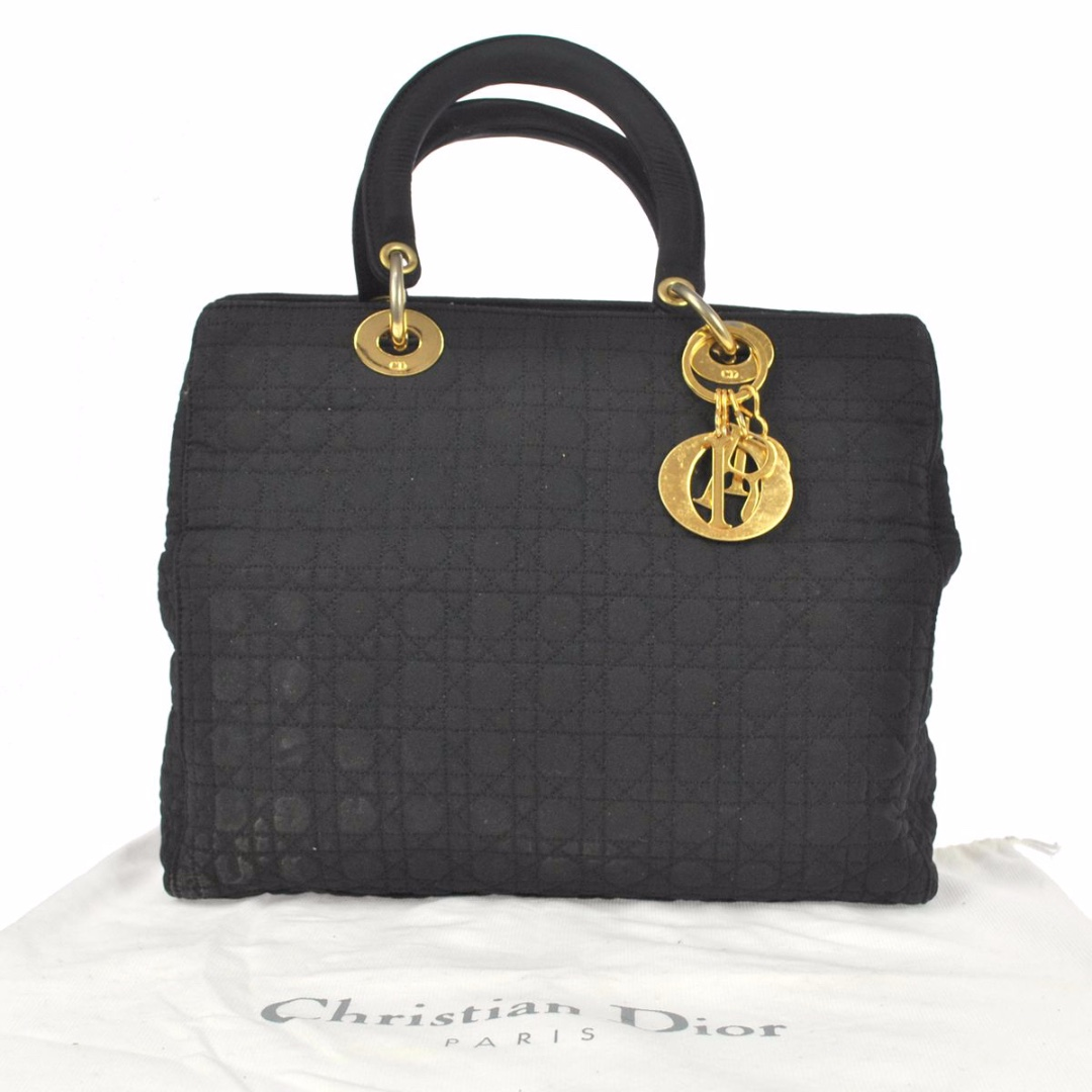 1b57d03c76c319 Christian Dior Authentic Black Medium Canvas Cannage quilted lady ...