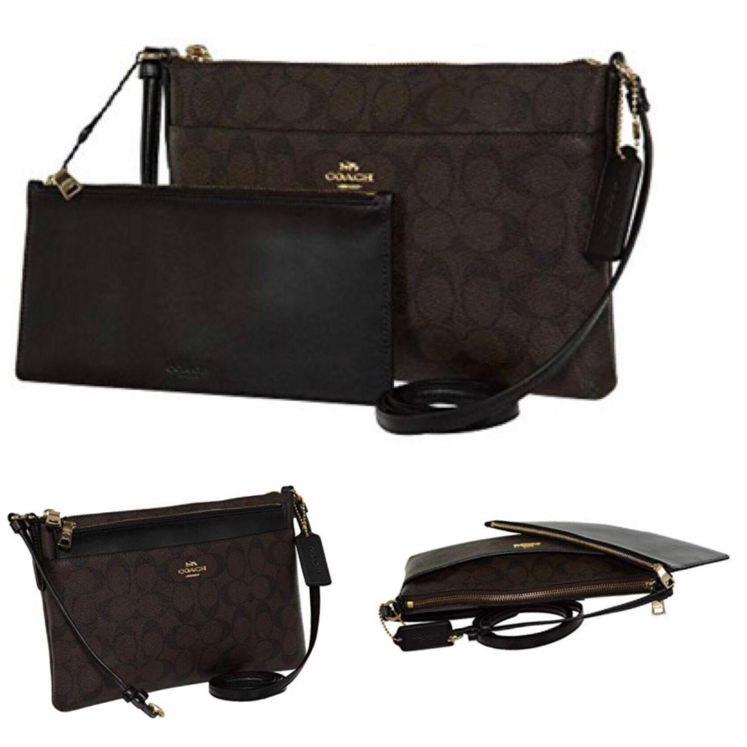 47b9c5c03b93 COACH EAST WEST CROSSBODY WITH POP UP POUCH IN SIGNATURE CANVAS ...