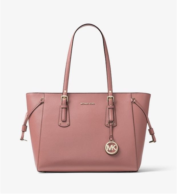 4b0427c792e1 Exclusive] Michael Kors voyager crossgrain leather tote in rose ...