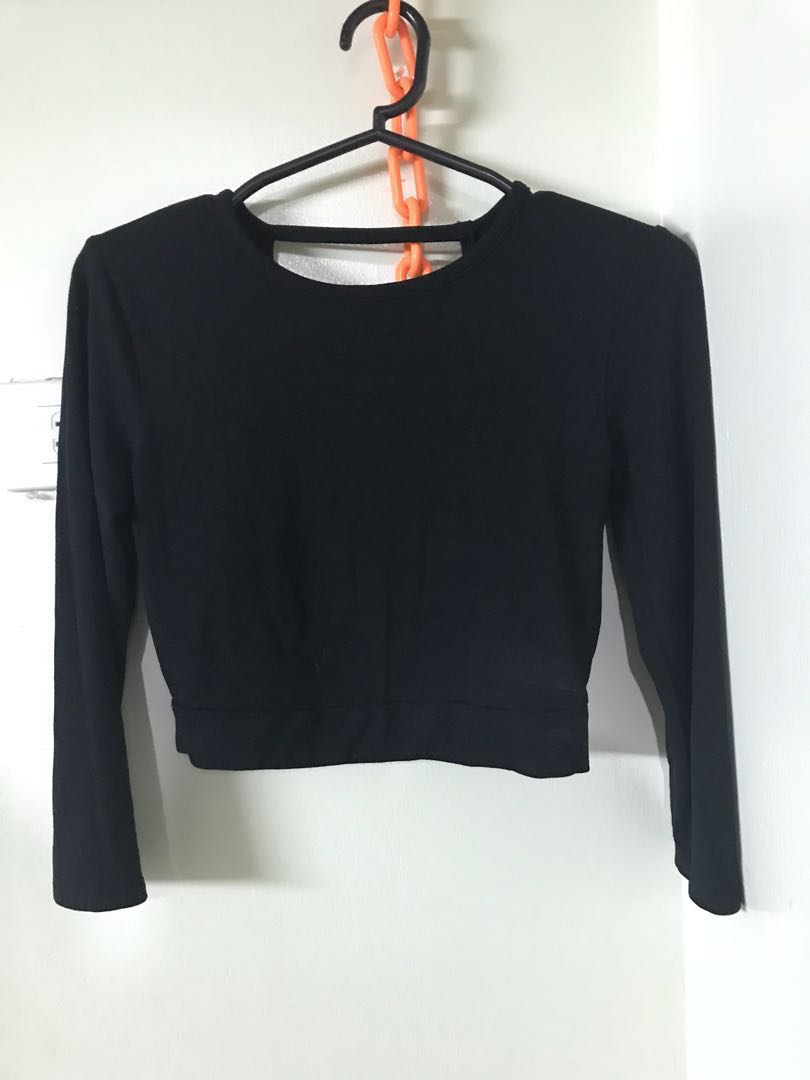 9f3889743a9540 Forever 21 Long Sleeves Crop Top