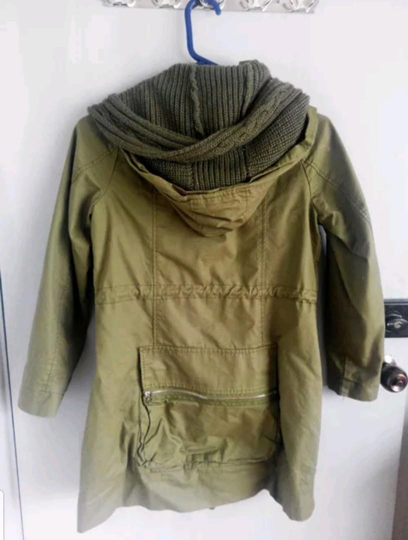 Green Jacket Parka Trench Coat Knitted Scraf Attached Floral Lining Sz 8-10 S-M