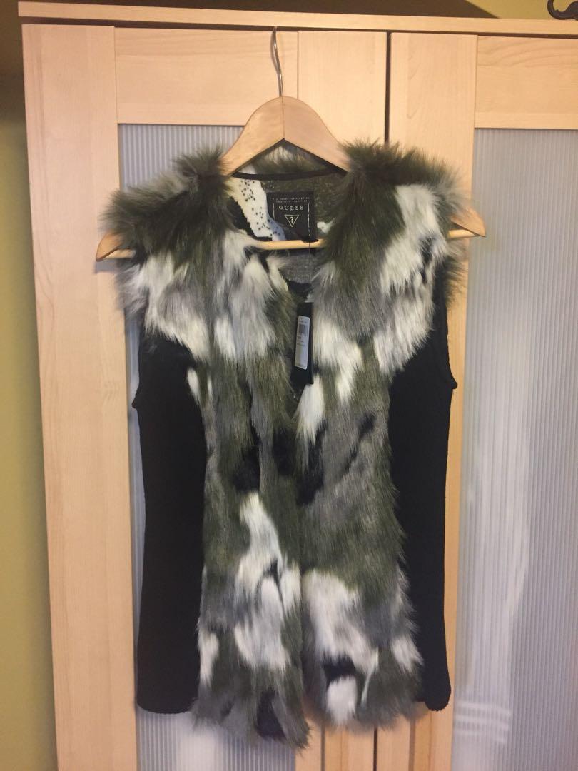 GUESS faux fur vest XS