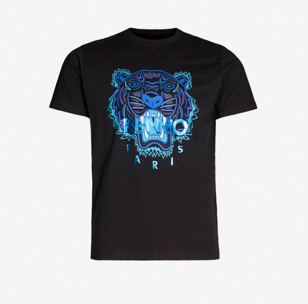 dbbdacbc54a Kenzo Metallic Blue Tiger T shirt