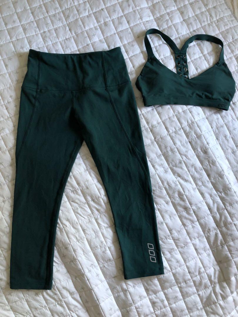 Lorna Jane dash core green 7/8 tights and padded sports bra set xs