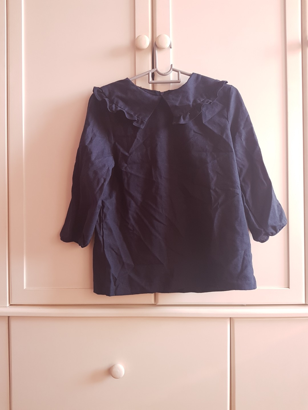 0a21e912d32030 Navy blue peter pan collar blouse, Women's Fashion, Clothes, Tops on ...