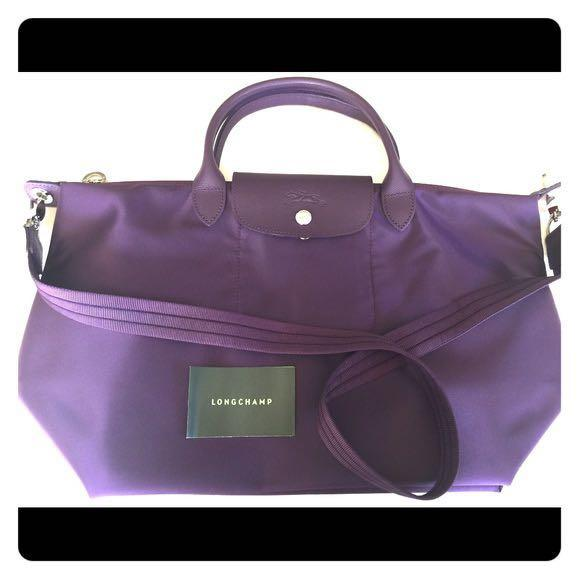 New! Authentic!Longchamp Neo medium bilberry crossbody/ tote