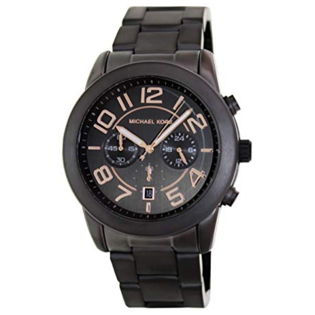 8165775f642d0a NEW MICHAEL KORS Mercer Chronograph Black Dial Gunmetal Ion-plated ...