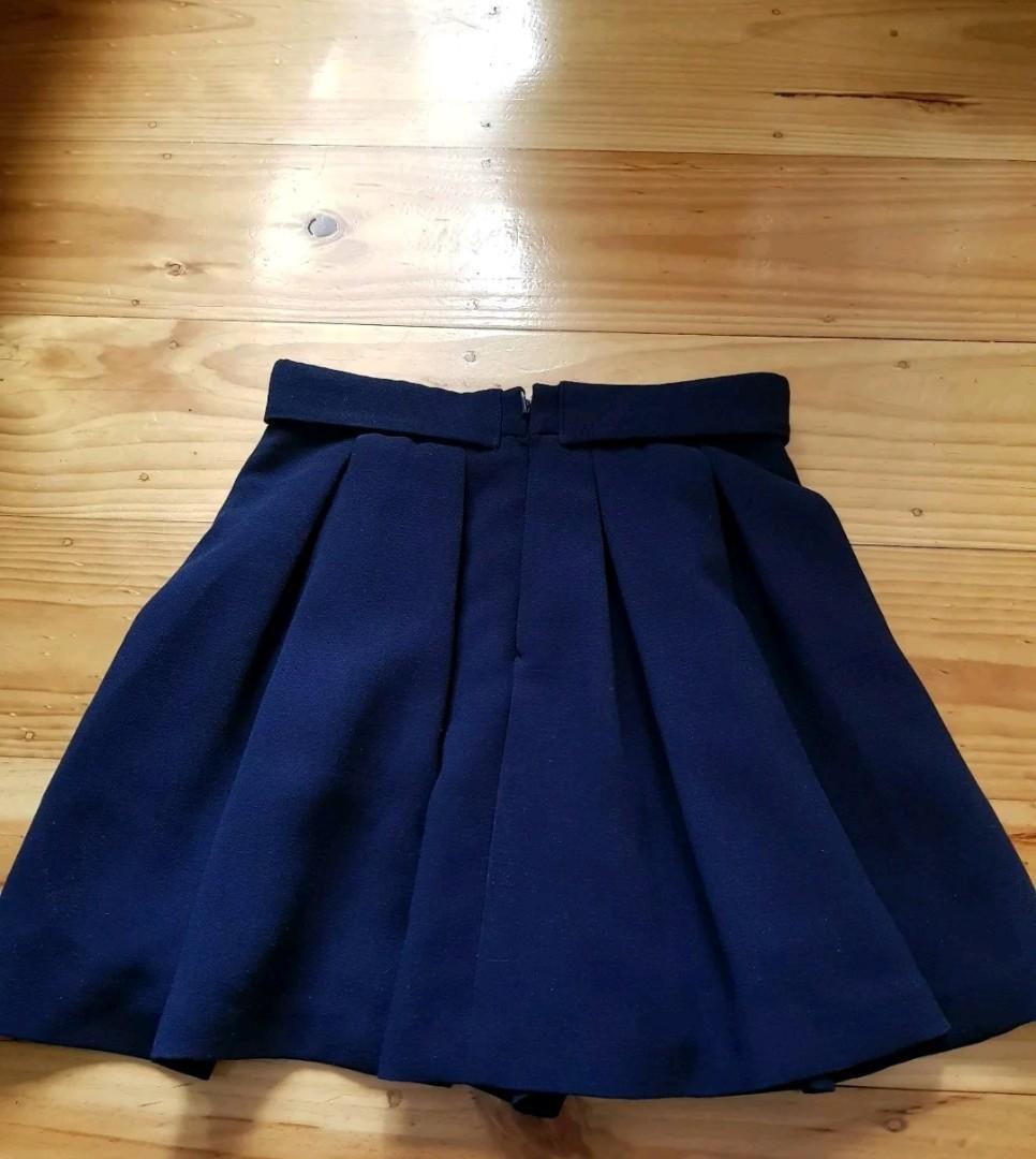 New Navy Blue HUGH WAISTED Waist Skirt SKORT Shorts - Size 6-8 XS BNWOT