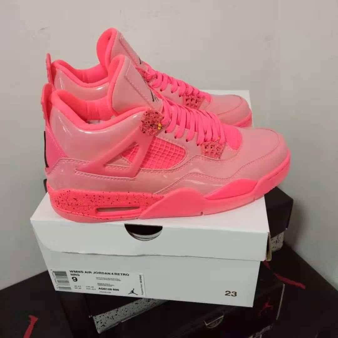 Nike Air Jordan 4 Retro NRG Hot Punch Black Volt Girls Women's