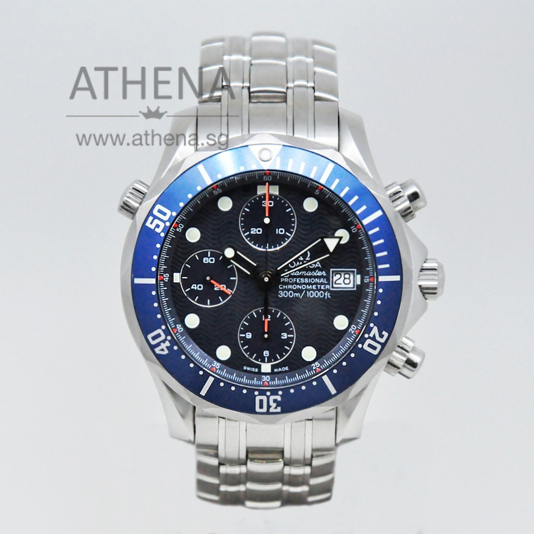 9dc630c0dad11 OMEGA SEAMASTER PROFESSIONAL DIVER 300M CHRONOGRAPH 2225.80.00 WITH ...