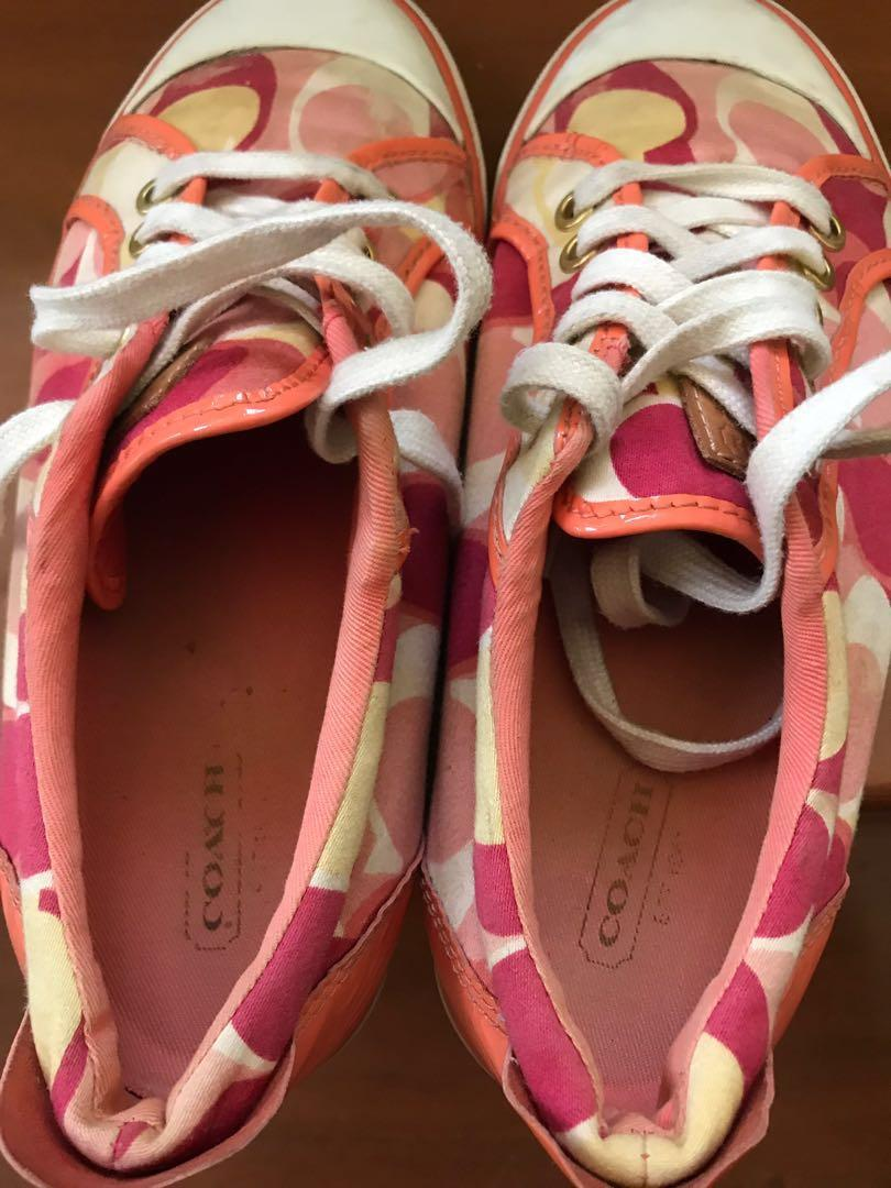 New Coach Barrett Signature Coral Red Yellow White Signature /& Leather Sneakers