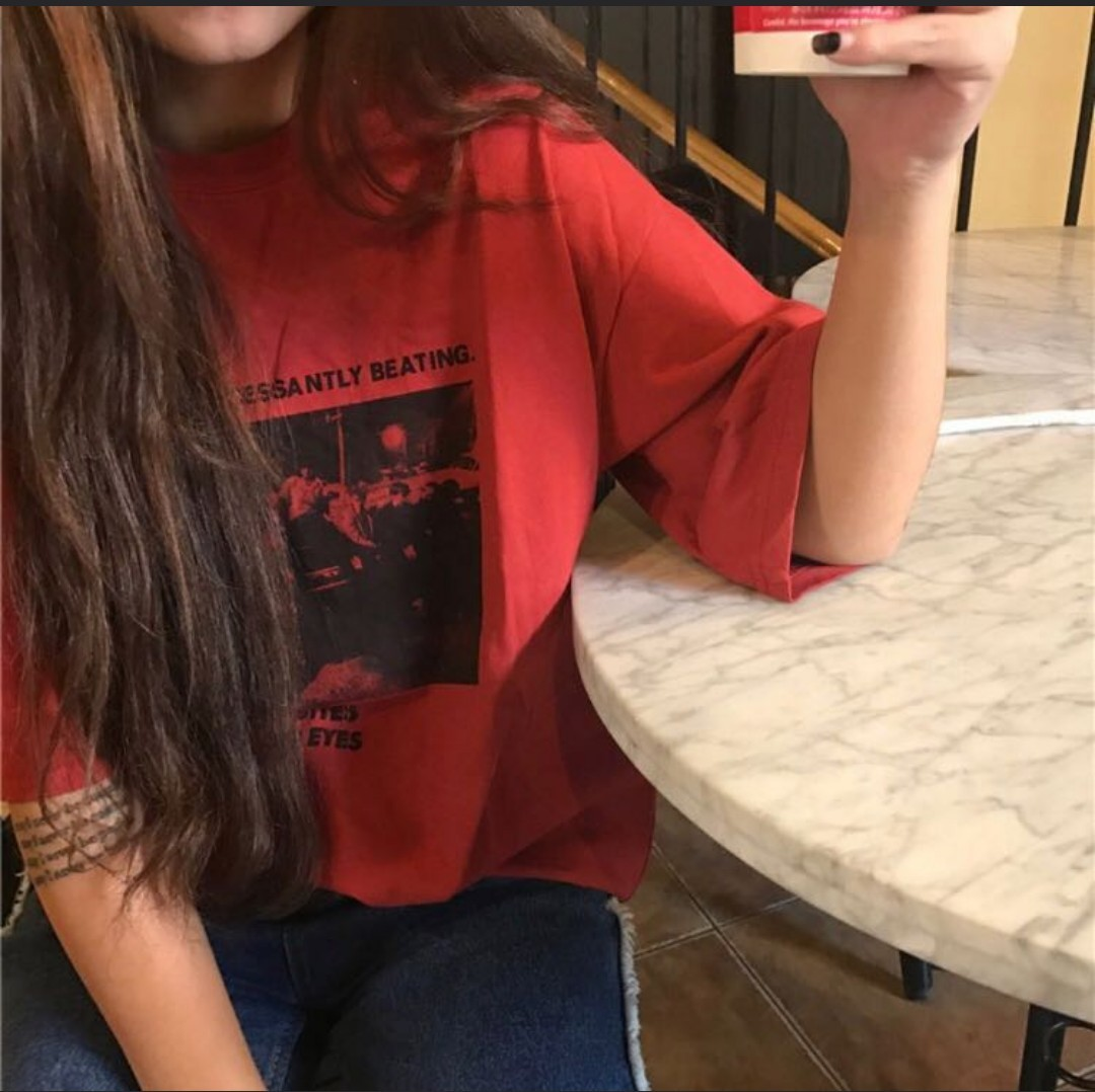 0c333e338 Red Ulzzang Graphic T-Shirt, Women's Fashion, Clothes, Tops on Carousell