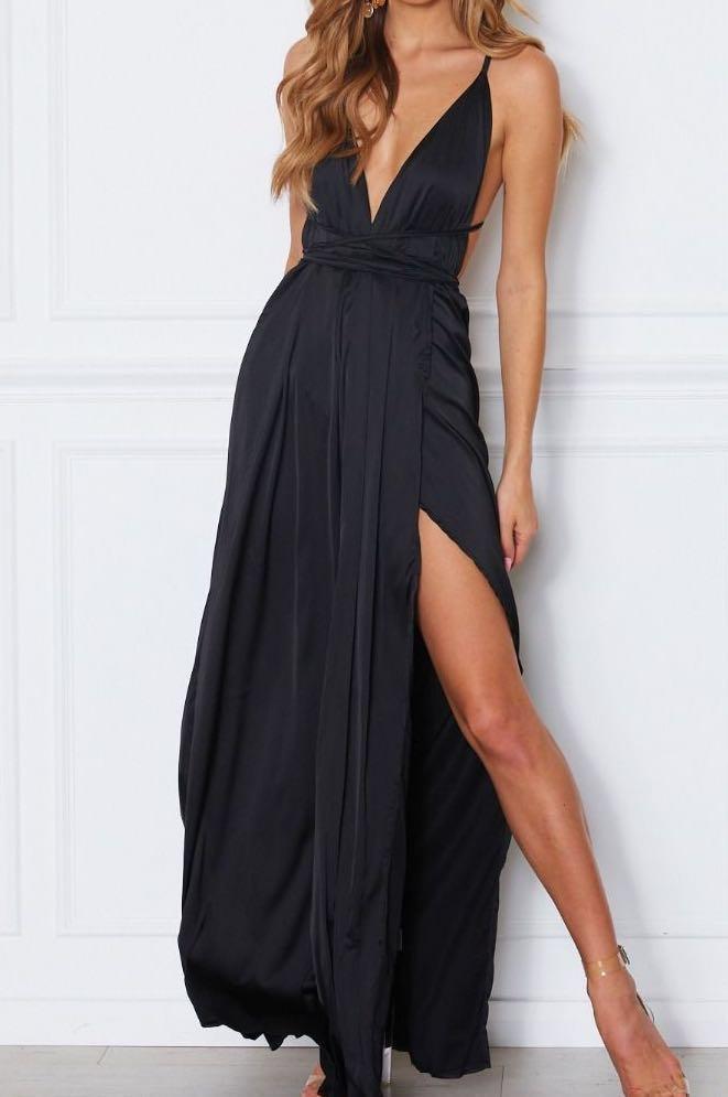 RENT Black Satin Formal Dress