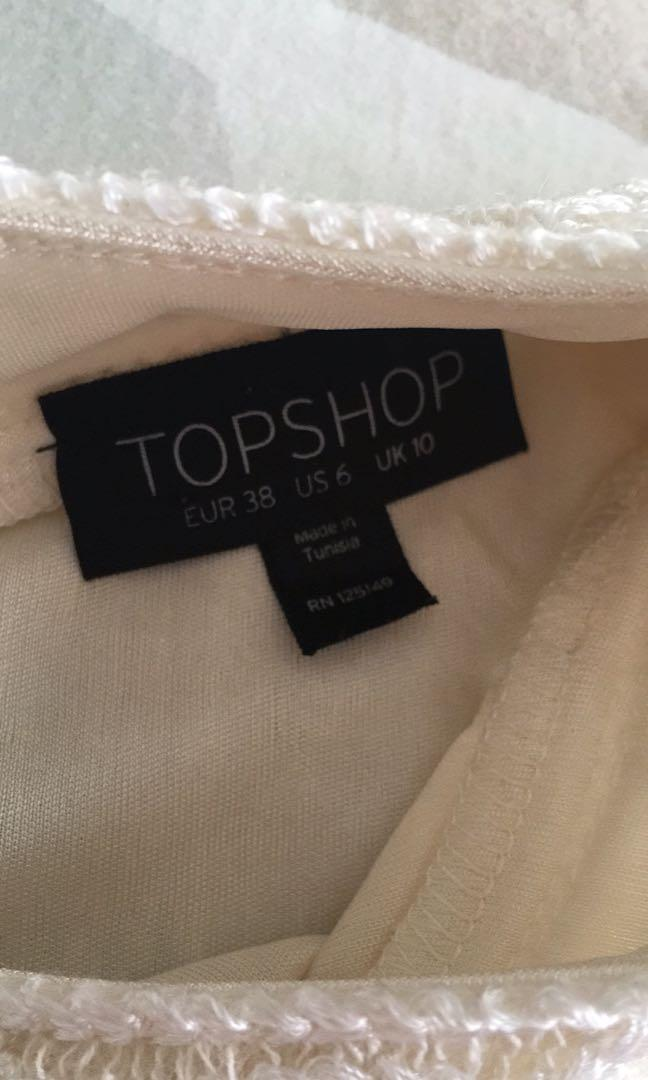 Topshop cream pleat swing dress with embroidered neck detail