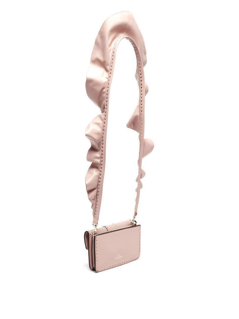 VALENTINO  Rockstud ruffle-strap cross-body leather bag