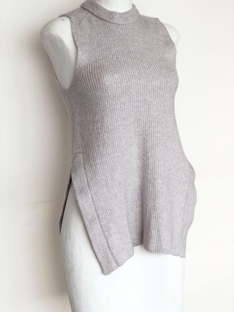 Wilfred Aritzia ($120) Gray Wool sleeveless tunic Sweater top
