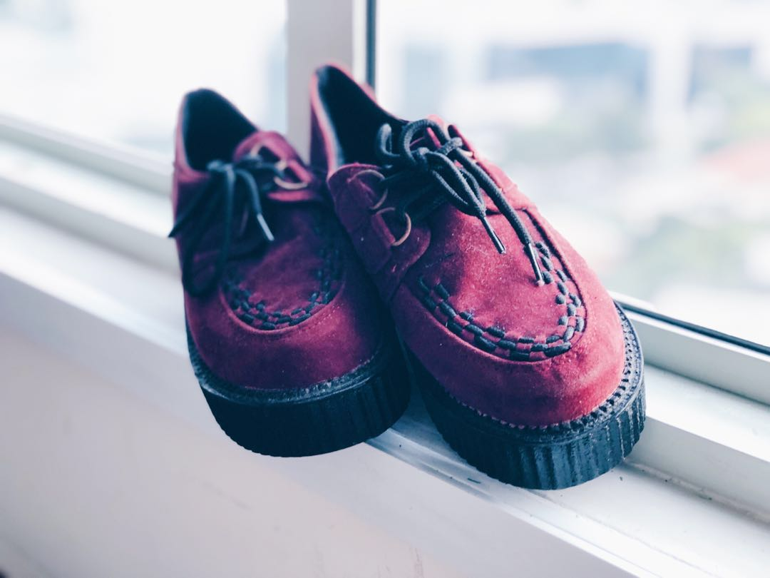 f1a30e557 Wine Red Creepers Tall Platforms #MakeSpaceForLove, Women's Fashion ...