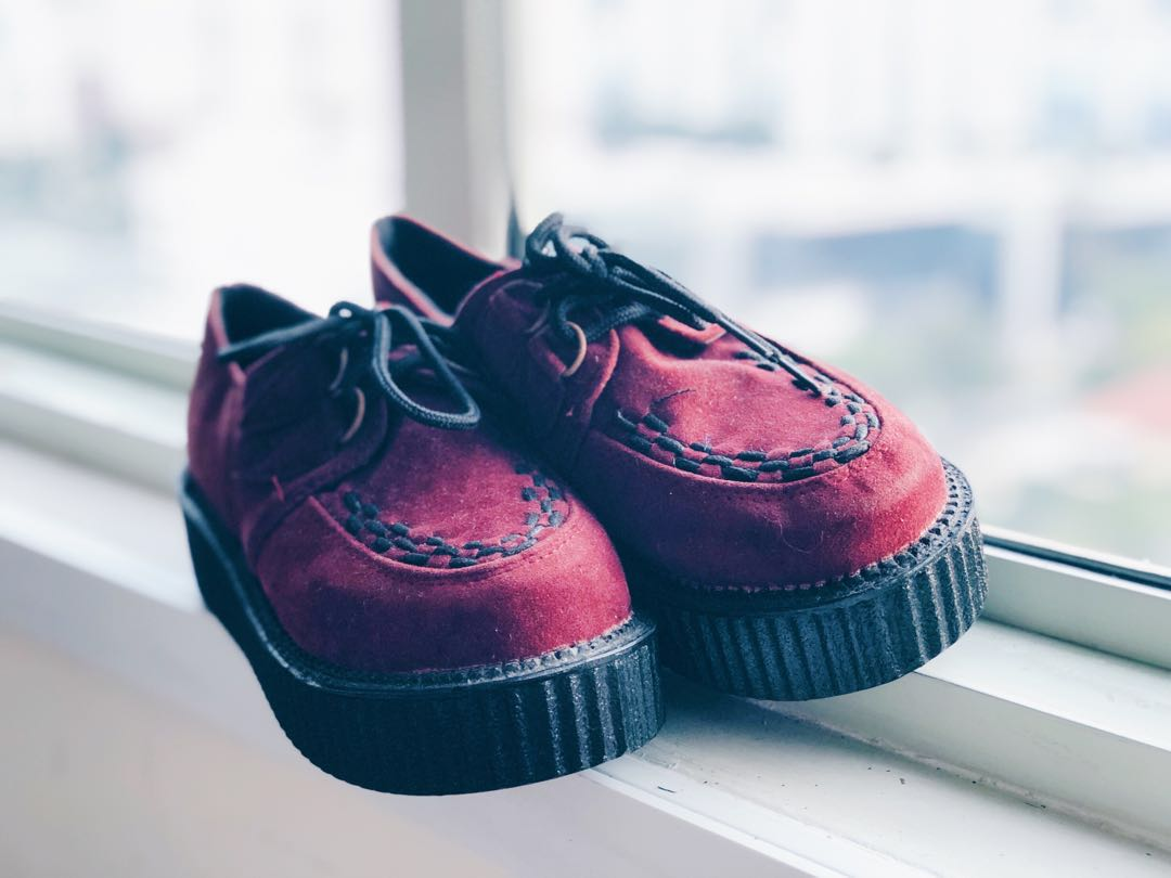 2c9815e2e Wine Red Creepers Tall Platforms #MakeSpaceForLove, Women's Fashion, Shoes,  Others on Carousell