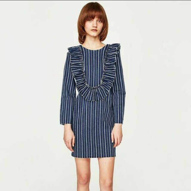 ed34078950 Zara striped denim dress with beautiful frills, Women's Fashion, Clothes,  Dresses & Skirts on Carousell