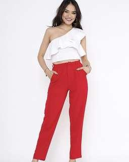 🚚 Supergurl Stanley Cigarette Pants in Poppy Red