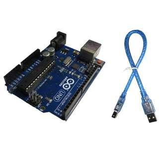 🚚 現貨 uno r3 arduino 原廠晶片 ATMEGA16U2 官方版本送USB傳輸線