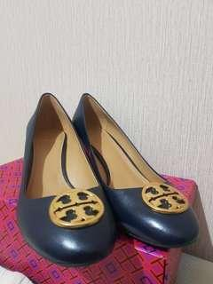 Tory Burch Chelsea Wedge Nappa Leather Perfect Navy