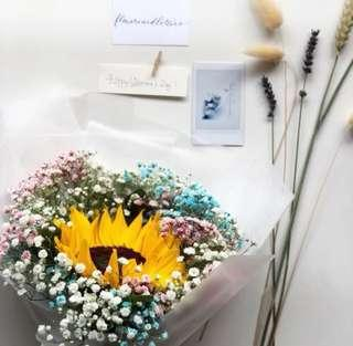 Fresh Flower Bouquet sunflower with mixed white, pink and blue baby's breath hand bouquet vday valentine's day bouquet fresh flowers