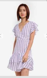 BNIP BNWT Zalora Ruffle Stripes Wrap Dress