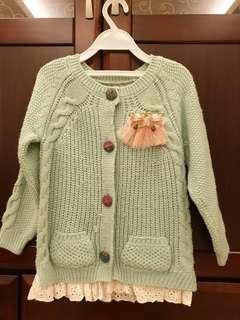 🚚 蘋果綠粗毛線針織小外套(4-5歲適穿)