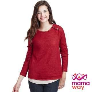 🚚 媽媽餵 mamaway 棉柔學院風孕哺上衣 秋冬長袖保暖哺乳衣 秋冬長袖保暖孕婦裝