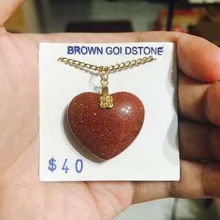 Brown Goldstone Glittering Heart Necklace BLC15204