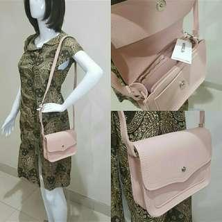Sling bag miniso pink nude