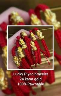 Lucky Piyao 24 karat gold bracelet