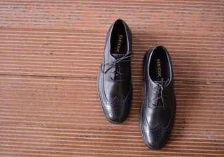 (FREE SHIPPING)Geox Black Leather Formal Shoes