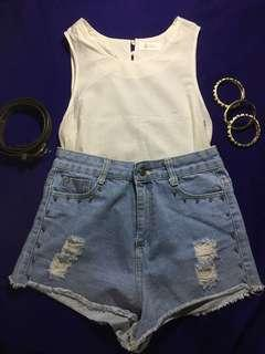 (FREE SHIPPING) Cream Colored Top