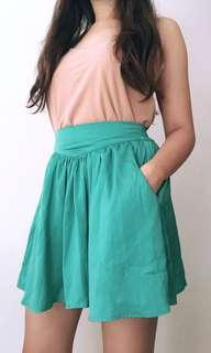 Cotton On Bright Mint Green Skirt with Pockets