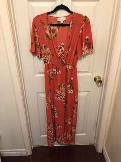 URBANOLOGY floral romper maxi dress