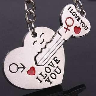 Couple I LOVE YOU Letter Heart + Key Ring / Keychain Valentines Anniversary