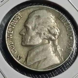 1958 Usa Five Cent Coin