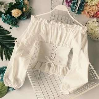 [PO] Off Shoulder Ruffle Top with Waist Belt