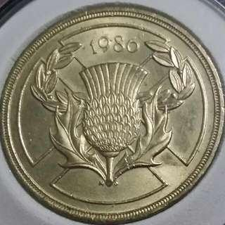 1986 Two Pound Coin With Nice Details And Luster