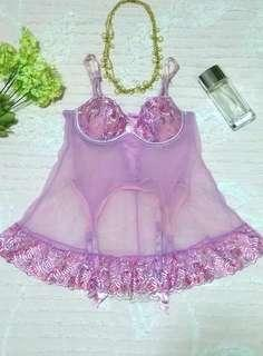 """Victorias Secret"" Lace-up Back Embroidered Mesh Babydoll w/ Stocking Holder"