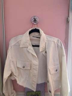 Topshop white cropped denim jacket