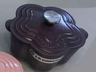 Le Creuset cast iron purple flower casserole