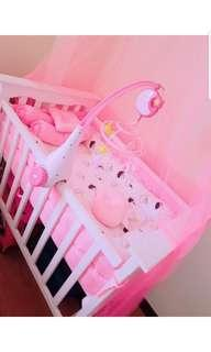 Wooden Foldable Crib with FREE MATTRESS & PILLOWS