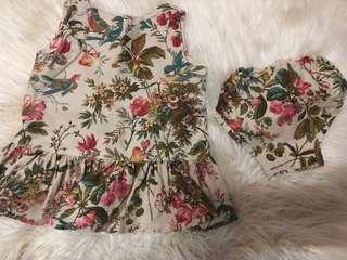 Flower floral dress with bloomer