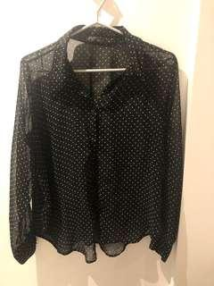 Forever 21 sheer polka dot button up blouse size large