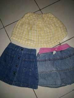 (📮 Postage included) 3 denim jeans skirt skort for 3-4yo girls